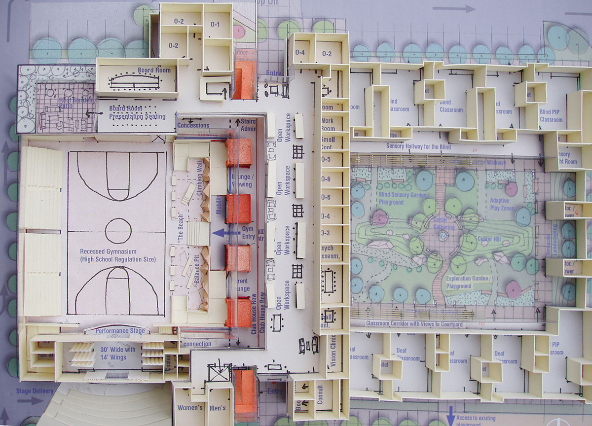 A detailed scale model of the layout for the sensory design of the school for the deaf and the blind.