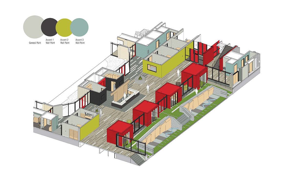 A rendering showing which walls in the lobby will be painted gray, black, green, or blue.