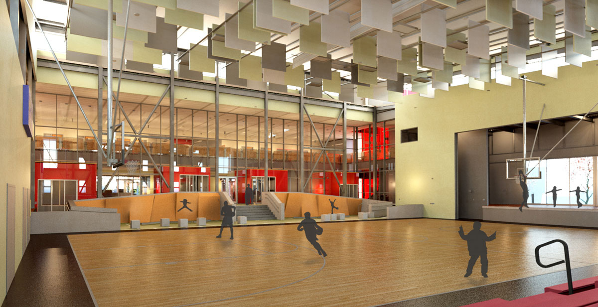 3D rendering of students running and playing in the gym.