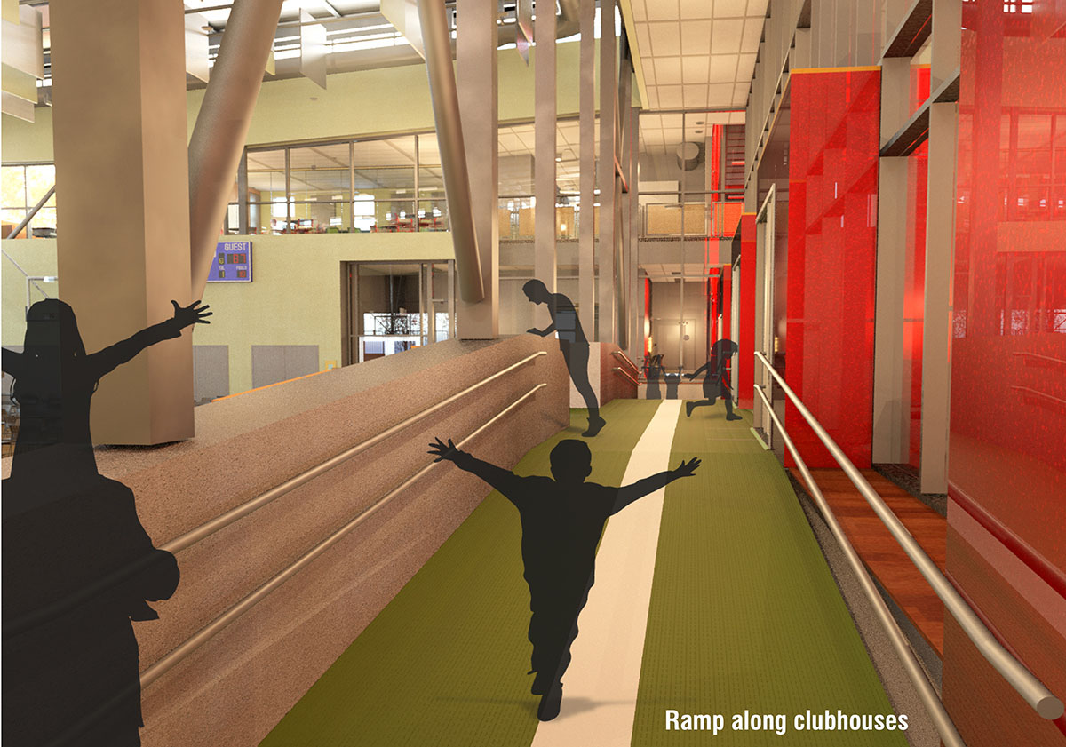 3D rendering of children walking along a white stripe next to the basketball court.