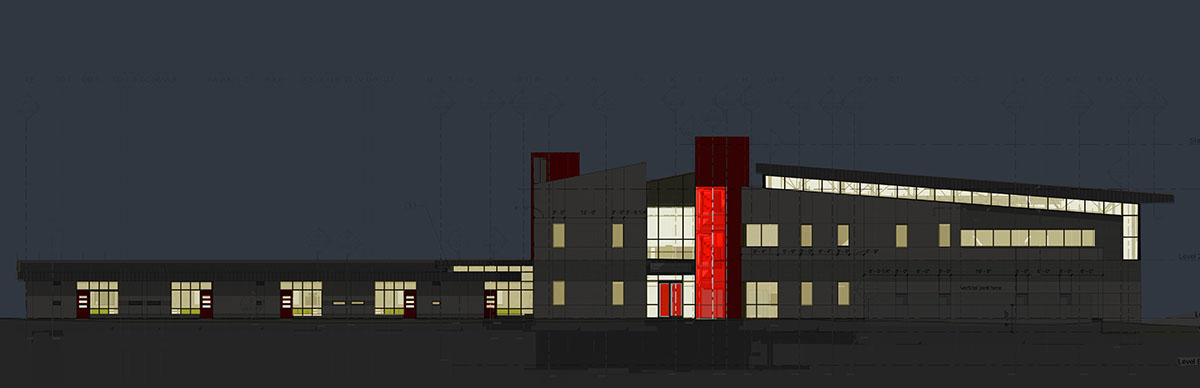 Computer rendering of the building at night showing the glowing red staircase and light coming through the other windows.