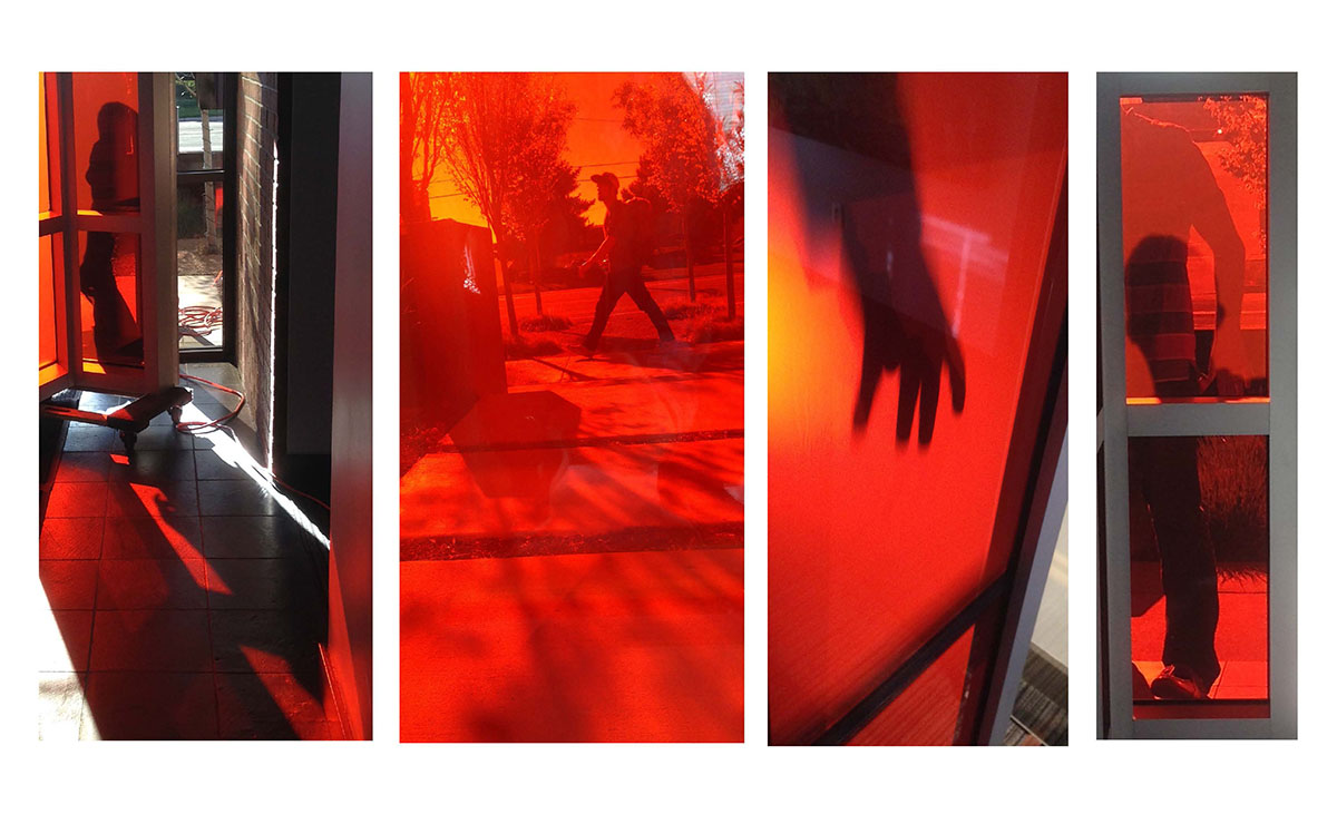 Collage of photos showing how light and shadows look through red glass panels.