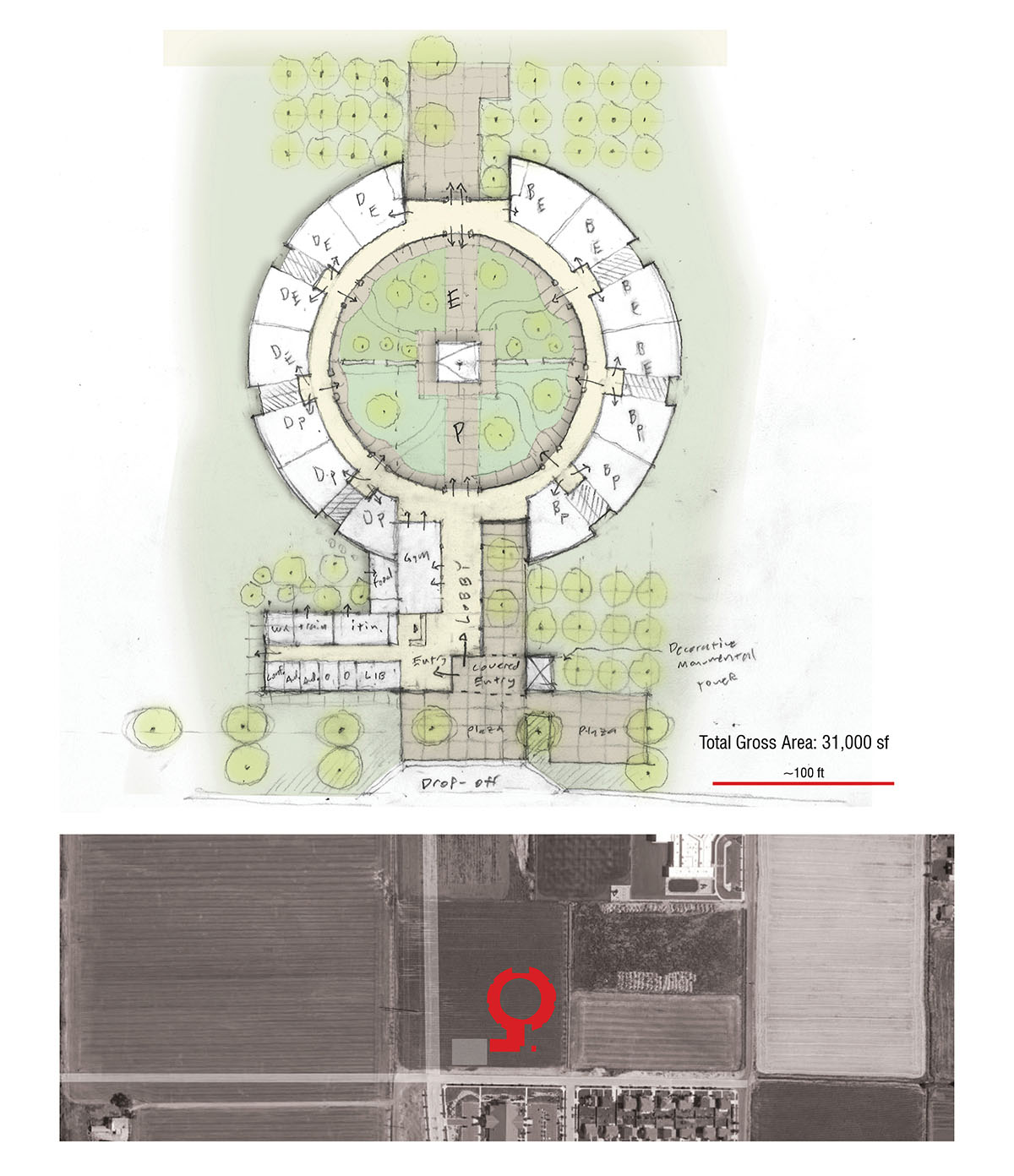 Hand-drawn sketch of the early Q shaped concept for the deaf and blind education facility.