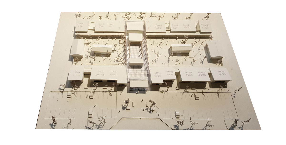 Aerial image of an early concept model for the facility.
