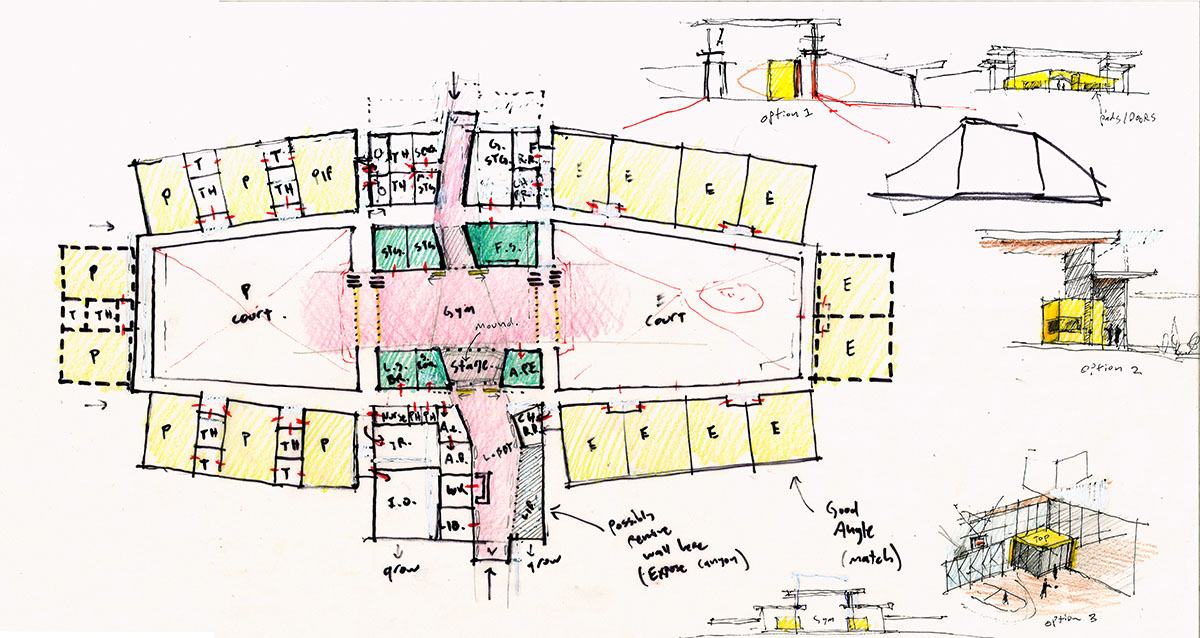 Hand-drawn sketch of the building layout plan for the deaf and blind education school.