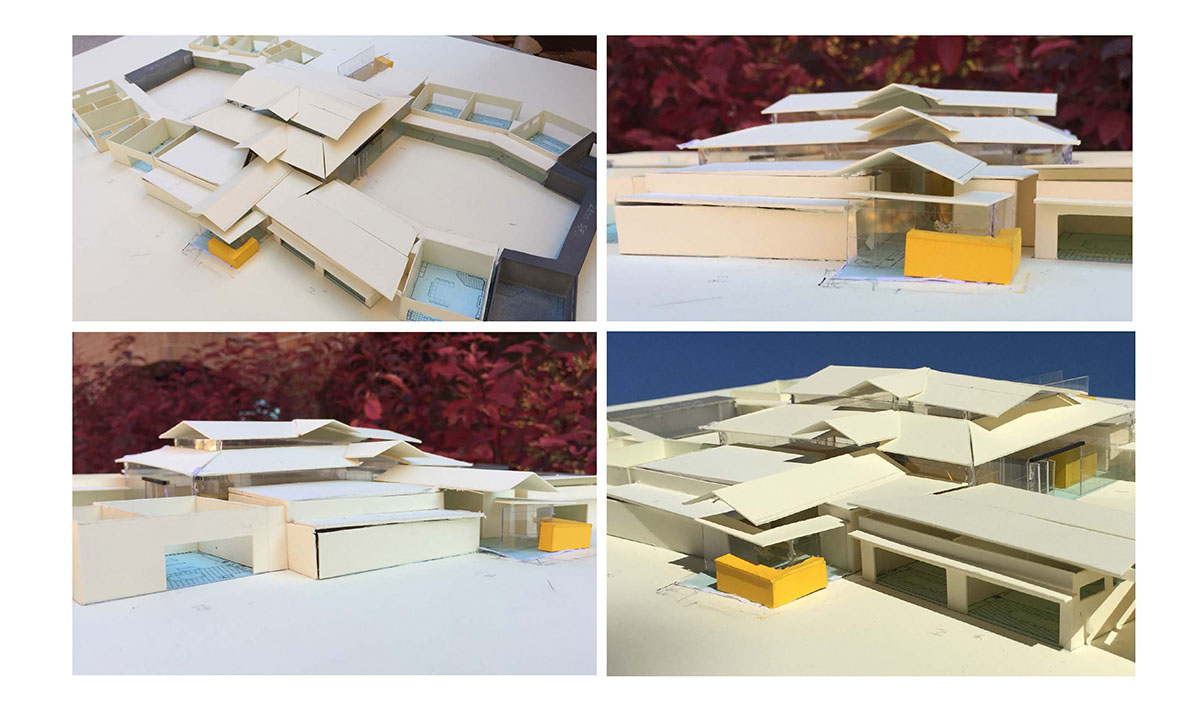 Collage of exterior images showing a preliminary scale model for the building.