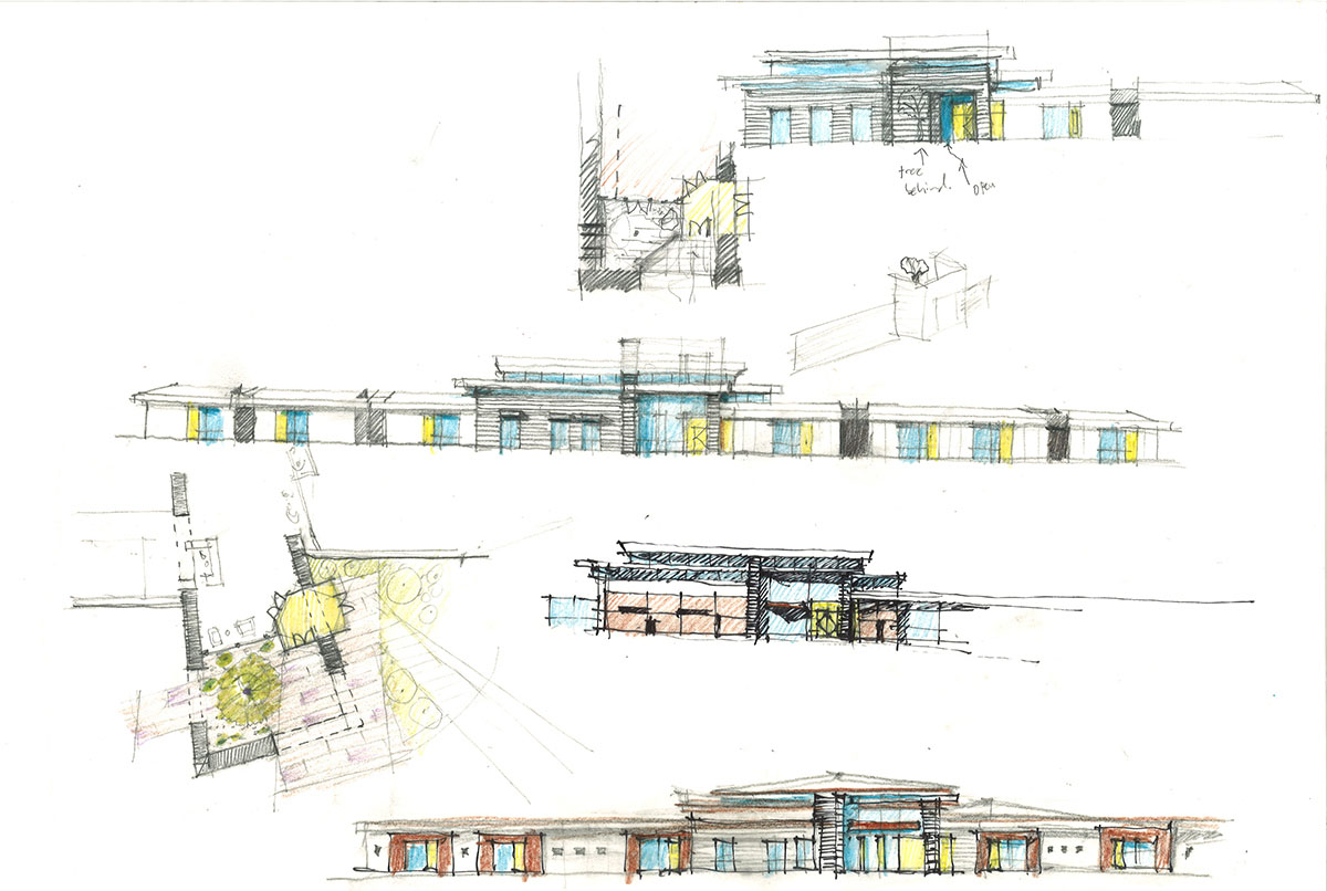 Collage of hand-drawn sketches showing exterior concepts for the look of the deaf and blind school.