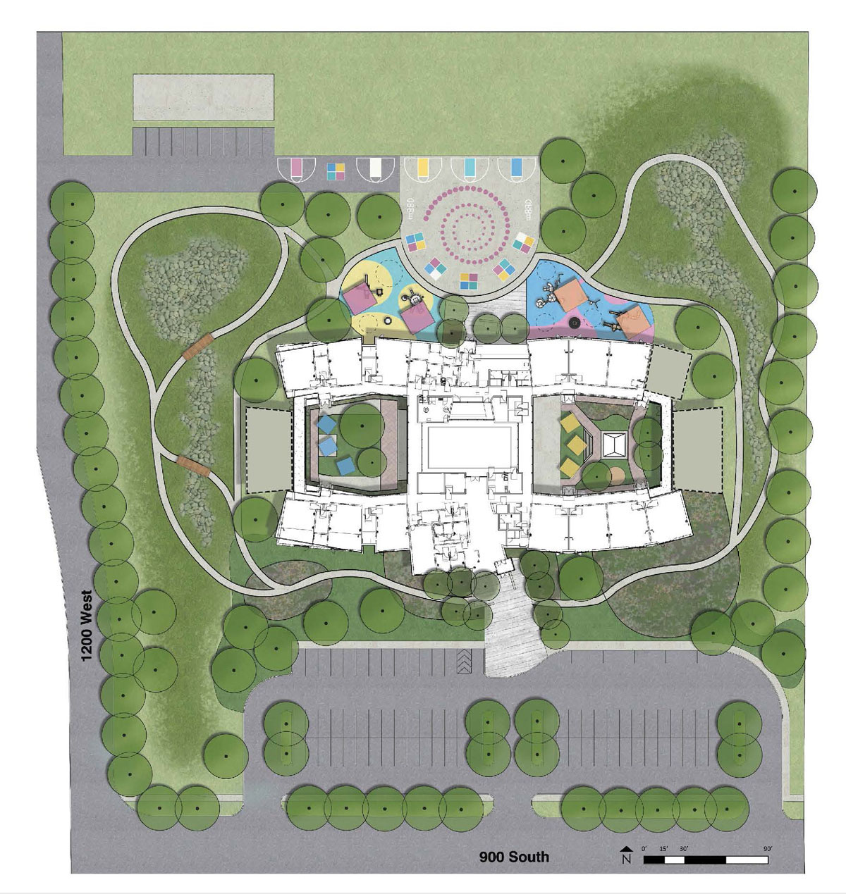Site plan showing the landscape, playgrounds, building, and parking lot of the deaf and blind school.