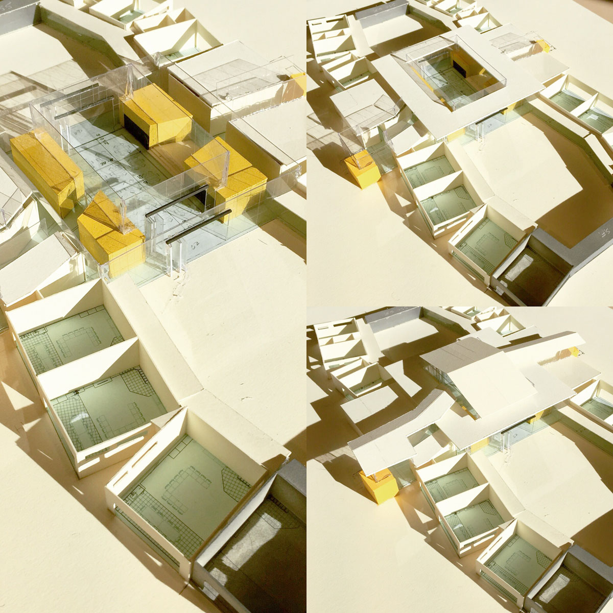 Collage of four aerial views showing the scale model for the school.