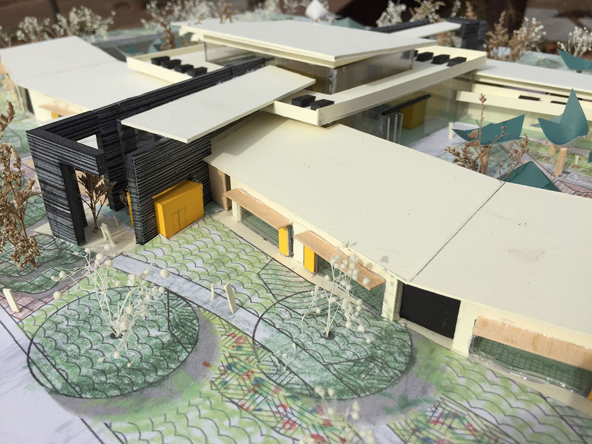 Aerial view of the finished scale model for deaf and blind education school.