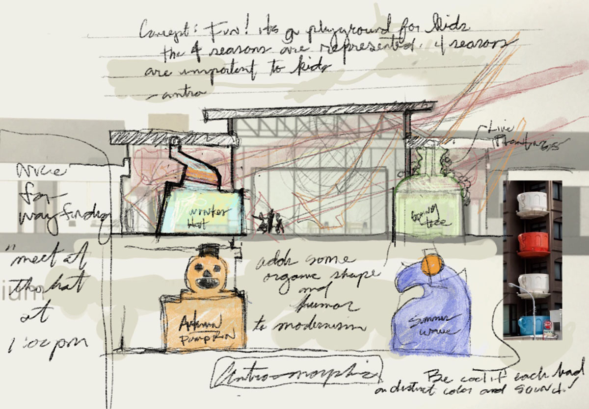 Hand-drawn concept sketch for landmarks in the school.
