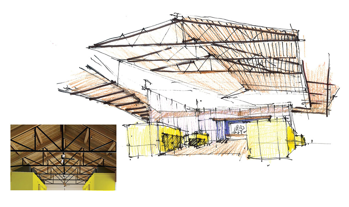 Hand-drawn sketch of interior roof.