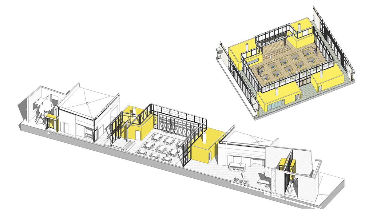 Interior detail renderings of deaf and blind school gym.