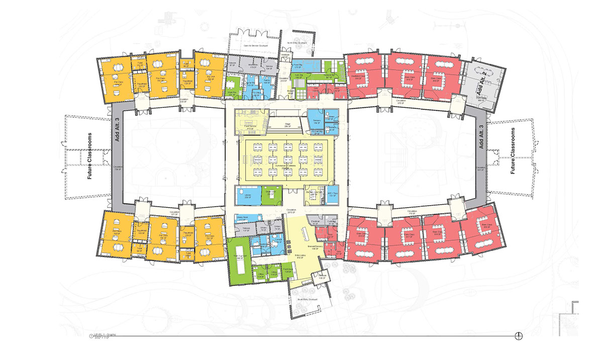 Colorized floor plan of deaf blind education design school with different colors coordinating with different room uses.