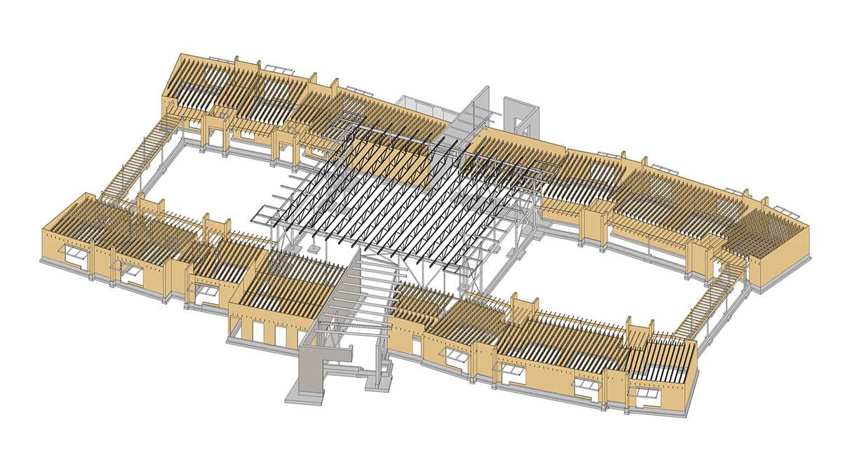 Aerial rendering of wall placement in a deaf and blind education school.
