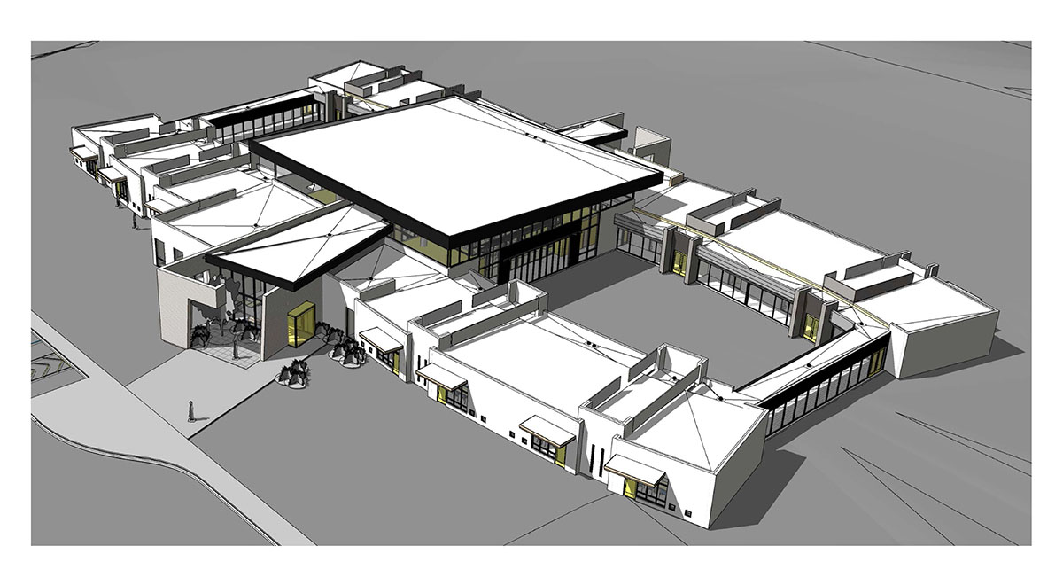 Aerial rendering in white, black, gray, and yellow of school.
