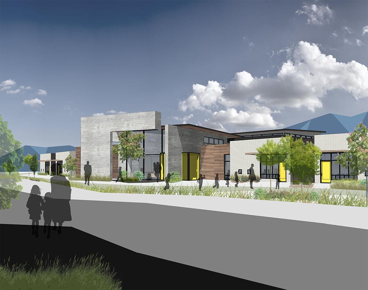 Exterior rendering of deaf and blind education school.