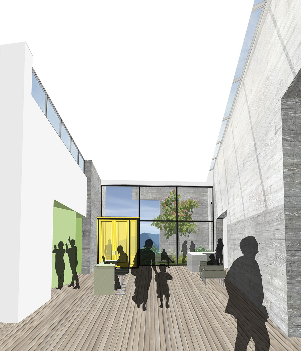 Interior rendering for deaf and blind education school.